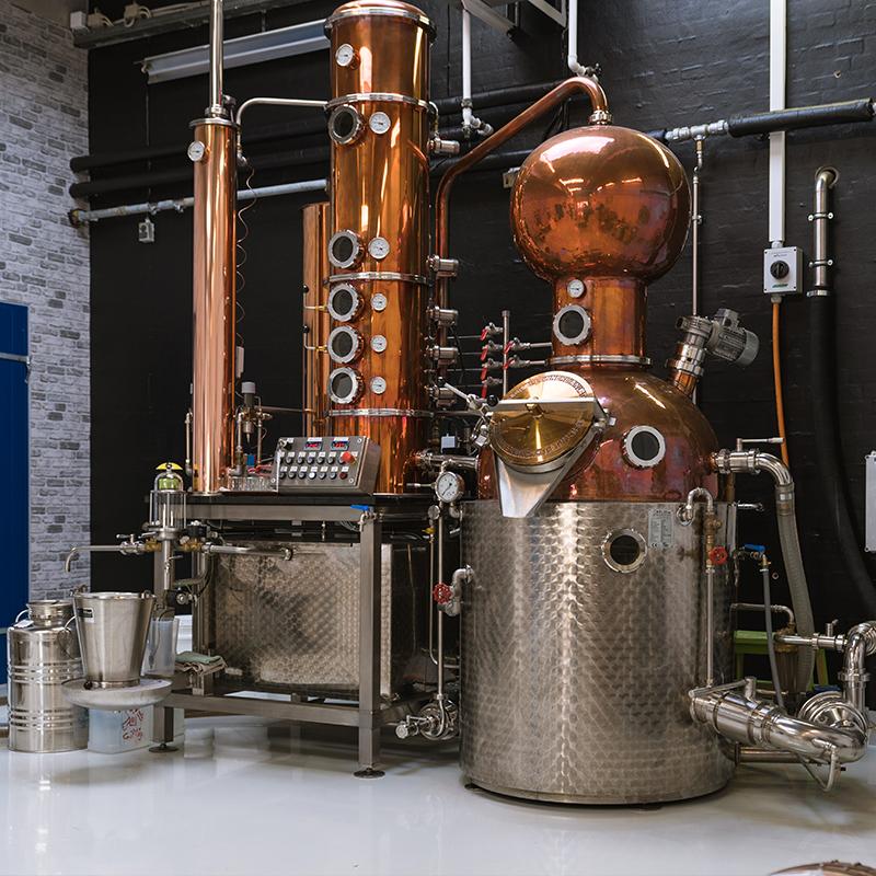 Getspirits Distillery destilleringsapparat i kobber og stål